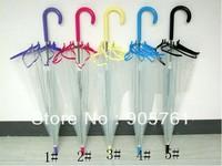 Free shipping 10pcs/lot to US color trim Apollo transparent clear umbrella in Dome shape fashion see through straight umbrella