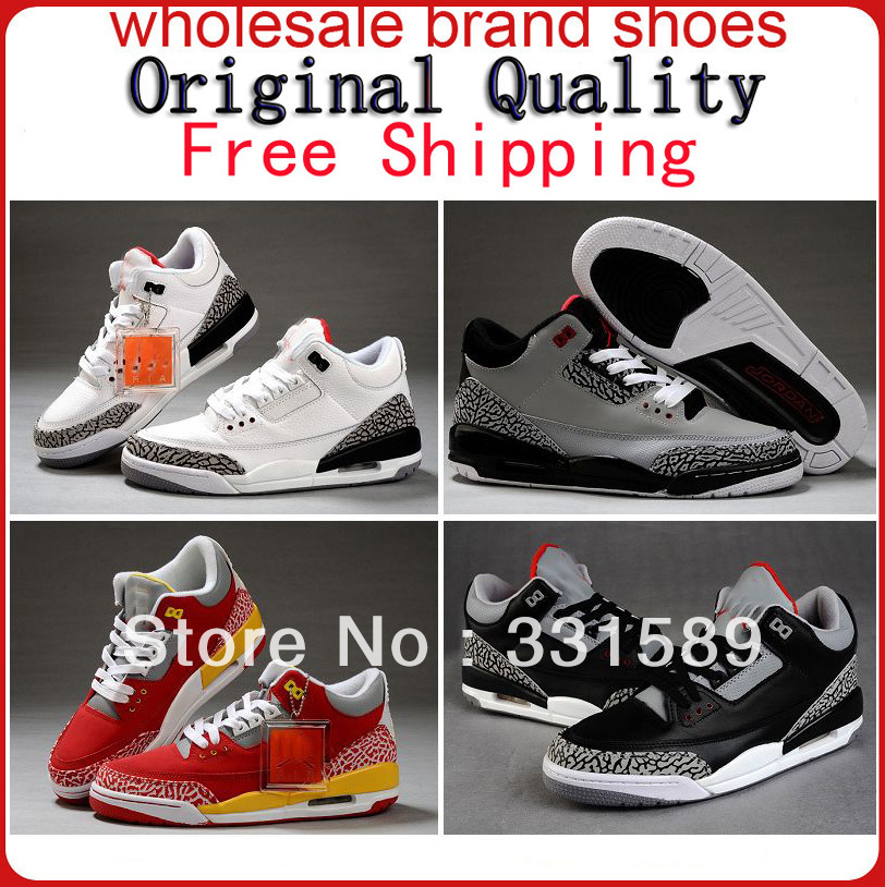 EMS AIR 2013 Free Shipping Top quality Leather Famous Trainers 3 Retro Men's Sports Basketball Shoes J3(China (Mainland))