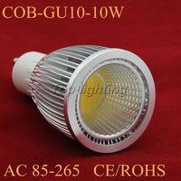 Free shipping 6pcs/lot High Power GU10 10W COB led spot light , 10W COB led light, led lighting