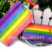 New Multicolour table napkin paper small tissue print small washouts paper rainbow color paper handkerchief