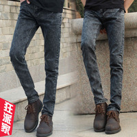 2013 spring male jeans skinny pants slim black and gray mid waist pencil pants