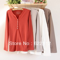 Free Shipping 2013 new female T-shirt cotton button V-neck women's long-sleeve shirt bottoming shirt Large Size xxxl XU088