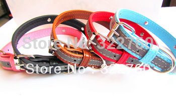 free shipping large Reflective PU leather dog collar pet product