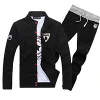 Free shipping 2013 New Man lamborghini Sweatshirts + Pants Sport suit tracksuit  men's sportswear Black Grey SIZE M-XXXL G70