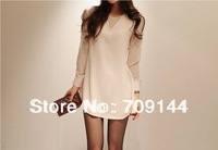 Free Shipping Elegant Openwork Beam Waist Flounce Long Sleeves Chiffon Dress For Women