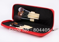 free shipping! professional  RED 15pcs makeup brush set PU leather case , high quality cosmetic brush set