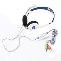 PC Microphone Headphone Headset MSN Skype Talk  3.5mm Black Color,Free Shipping