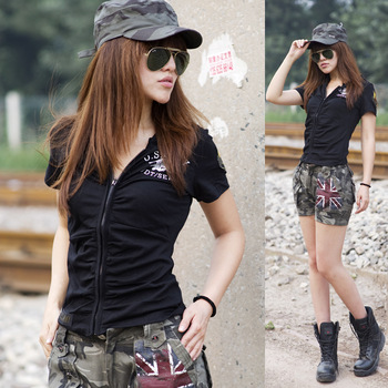 Retail  the new models black hoodies women's short - sleeved T-shirt Free shipping 0352