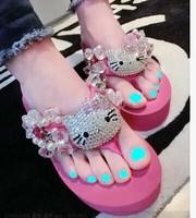Free Shipping hot summer beach Sandals rhinestone flowers Platform wedge high heels Flip Flops Slippers Shoes for women 4 colors