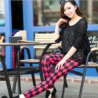 2014 Women's Fashion Diamond Square Shape Leggings Pants Pantyhorse Four colors Free Shipping