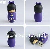 100pcs retail genuine 2/4/8/16/32GB cartoon kokeshi usb flash drive japanese dress model pen drive usb with gift box