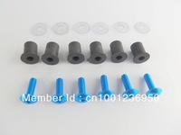 Blue WindScreen Windshield Wellnuts Bolts For Yamaha R1 R6 Honda CBR1000 Kawasaki ZX 10R 12R Suzuki GSXR 600 750 Free Shipping
