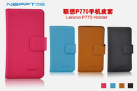 free shipping~!NEPPT leather case for Lenovo p770,with screen protector
