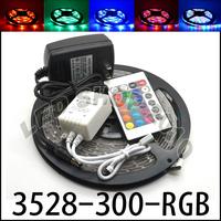 Crazy Price 5M 3528 SMD RGB Led Strip 300Led/5M waterproof 12V+Controller + Transformer send via ePacket 7-13 days ship time