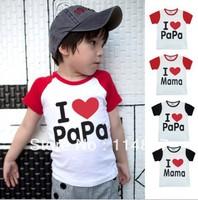 New style Baby short sleeve t-shirt,I love papa/mama T-shirts,boys/girls Tops shirts,20pcs/lot,