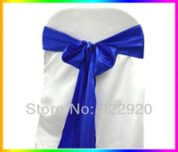 Free shipping 30 pieces Deep Blue / Royal Blue Satin chair sash for wedding/party/banquet decoration satin chair sash for cover