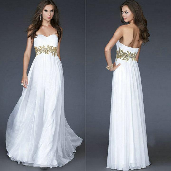 Белые платья на выпускной в пол