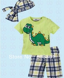 59509590020650(tops+ pant+ scarf hat) suit Baby clothes baby wear kids' suit baby suit boys beach boy Retail the retail 1pcs(China (Mainland))