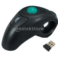 Free Shipping 10M 2.4GHz USB Handheld Wireless Optical Trackball Mice Mouse