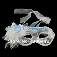 Fashion Party Wedding Lace Mask Dance Mask Costume Venetian Masquerade Flower White Free Shipping 12168