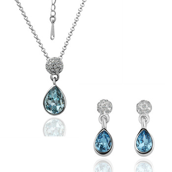 Free Shipping 18 K Gold Plate pendant Necklace&Earrings blue Austrian Crystal Set,Fashion Wholesale Jewelry S123