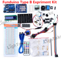 Free Shipping Funduino UNO R3 Board Microcontroller Development Board Breadboard Type-B Experiment Kit for Arduino Learners