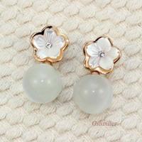 Italina Rigant fashion jewelry wholesale Min.order 2pcs, 18K Rose Gold Plated Cymophane Earrings,Jewelry Earrings