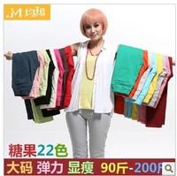 2013 mm elastic waist plus size jeans legging candy color female plus size jeans