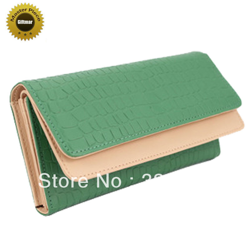 DHL free shipping 2012 European and American style Crocodile PU leather quality lady wallet girl purse women handbag clutch bag(China (Mainland))