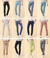12 Colors 2013 new arrival korean fashion skinny jeans men slim fit leggings denim pants stretchy trousers Free shipping 7 Size