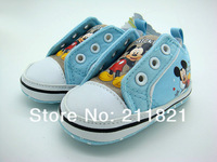 SanFu--DI017 baby boy blue canvas toddlers shoes first walkers shoes home shoes size 2 3 4 in US free shipping
