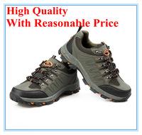 HOT Selling Outdoor Low-Top Waterproof Hiking Shoes for Men Lace-up Thick Heel Durable Athletic Sports Shoes  Brown & Army Green
