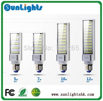 Super brightful horizontal plug 5050 SMD LED PL lights E27, G24 base type 7W 9W 10W 12W 15W LED lamp corn bulb