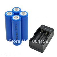 New 4 piece 3.7V 2200mAh 14500 ICR14500 lithium  AA Rechargeable Battery with charger For Ultrafire LED Torch