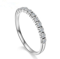 Free shipping 2013 new arrival super shiny zircon & 925 sterling silver & platinum plated female finger rings jewelry 1pcs/lot