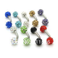 Free Shipping 100 Pcs 16G Mix Color 4mm Shamballa Crystal Beads Stainless Steel Curved Barbell Belly Eyebrow Ring Bars Piercing
