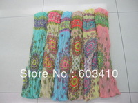 MOQ 500pc/design  Flower ruffle Scarf Fashion polyster scarf with low price and high quality