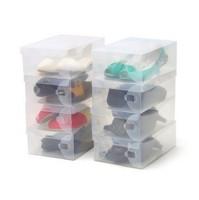 Wholesale Clear Plastic Shoe Boxes Shoes Organizer Home Storage Foldable Box 100PCS/Lot Freeshipping