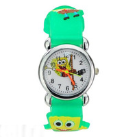 10pcs Free shipping Sponge Bob Baby 3D Cartoon Children Boys Girls Kids Quartz Watches Wrist Watches A079 (10 colors to choice)