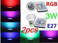 2pcs 3W E27 RGB AC85~265V LED Bulb Light SpotLight LED Light Lamp for Home Party illumination Free Shipping