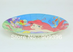 60PCS cartoon 9 inch Mermaid children's birthday party supplies disposable cake plate/fruit plate/paper plate/food plate &3(China (Mainland))