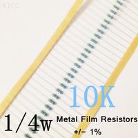1/4W 10k ohm +/- 1% resistor 1/4w 10K ohm Metal Film Resistors / 0.25W color ring resistance (200Pcs/Lot)