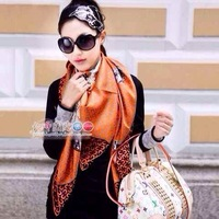 New 2014 Women Fashion Spring Squared 150*150 Summer 100% Silk Square Scarves/Designer Leopard Shawls/Necklace #6515 orange,grey
