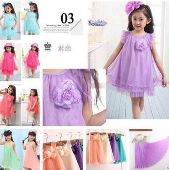 New Girls Dresses Summer flower corsage tutu chest veil vest dress children clothing princess party dress sequined chiffon dress