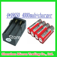 Free Shipping 4PCS Battery UltraFire Battery 18650 Dual Wall Charger 4000mAh 3.7v Rechargeable Battery + Dual Charger