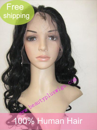 "Free shipping and Gift for top quality Indian remy hair 18"" 1# Romance Curl full lace wig(China (Mainland))"