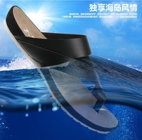 2013 Brand Men's Summer genuine soft cow leather flip-flop toe-covering male beach slippers sandals,Black,Brown,39-44