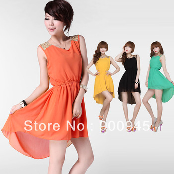 2013 Fashion Women Sequins Shoulder Multi Color Nipped Waist Women Ladies Chiffon Candy Sleeveless Dress Free Shipping # L034835