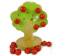 Free shipping baby gift Montessori education kids wooden toys early learning magnetic toys apple tree