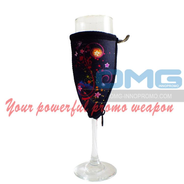 Logo Printing Wine Glass Cooler Champagne Glass Sleeve,Christmas Promotion Glass Insulator Holder,Wine Glass Cozy Kozy Woozie(China (Mainland))